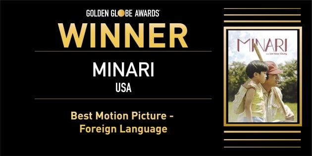 영화 '미나리'가 골든글로브 최우수 외국어영화상을 수상했다. / 사진=골든글로브 SNS