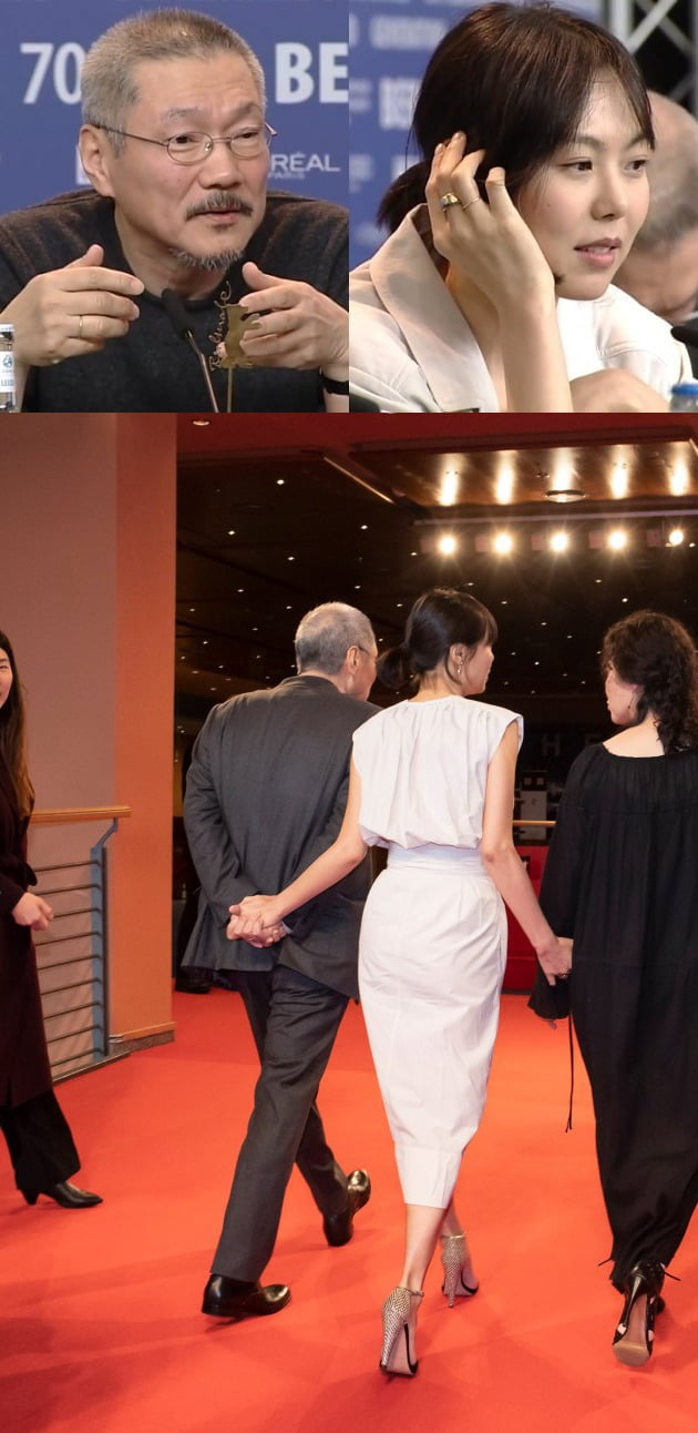 제70회 베를린영화제의 영화 '도망친 여자' 관련 행사에서 커플링을 끼고 손을 잡은 모습이 포착된 홍상수 감독(왼쪽), 배우 김민희. /사진=베를린영화제 SNS 캡처