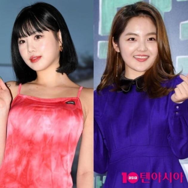 그룹 (여자)아이들의 수진(왼쪽), 배우 서신애. /텐아시아DB