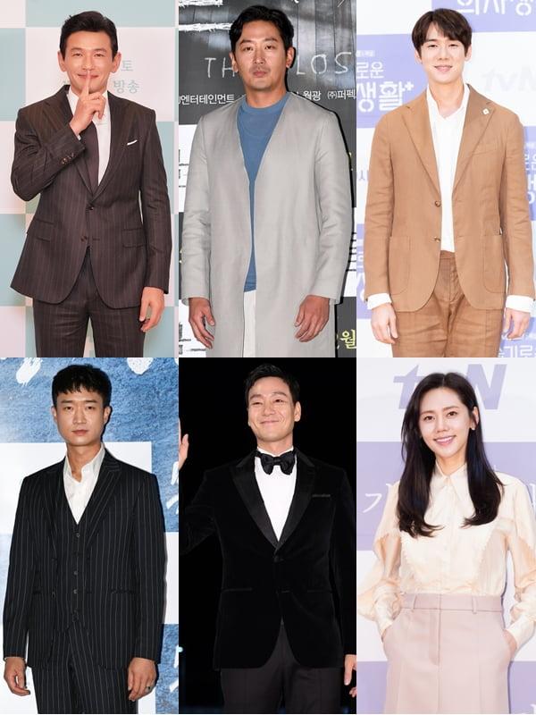 황정민(왼쪽부터 시계방향), 하정우, 유연석, 추자현, 박해수, 조우진./ 사진=텐아시아DB, tvN, JTBC