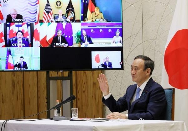 G7 회의서 '도쿄올림픽 지지' 호소하는 일본 총리. 사진=연합뉴스