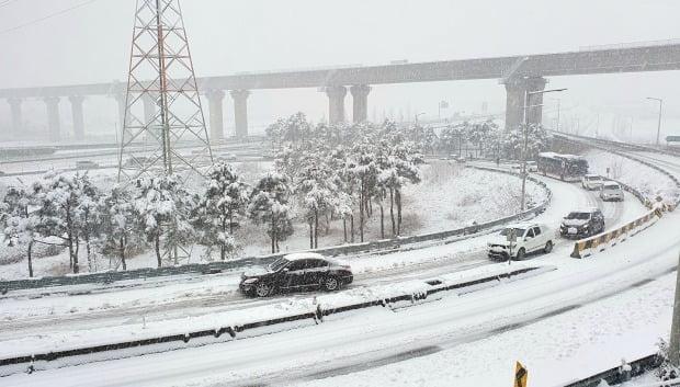 많은 눈이 내린 지난 1일 강원 양양군 양양IC 주변 도로에서 차량이 서행 운전을 하고 있다. /사진=양양군 제공