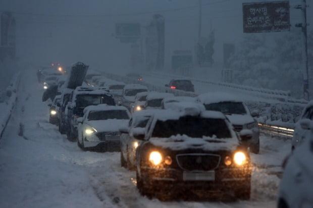 강원 산간과 동해안에 폭설이 쏟아진 지난 1일 미시령동서관통도로에서 차량이 움직이지 못하고 있다./사진=연합뉴스