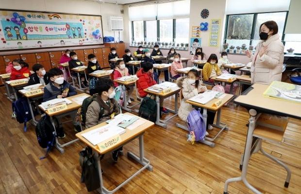 인천시 연수구 청량초등학교에서 1학년 학생들이 교사와 인사하고 있다. /연합뉴스