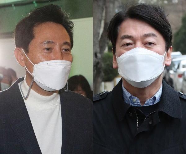 오세훈 국민의힘 후보(왼쪽)와 안철수 국민의당 후보/사진=뉴스1