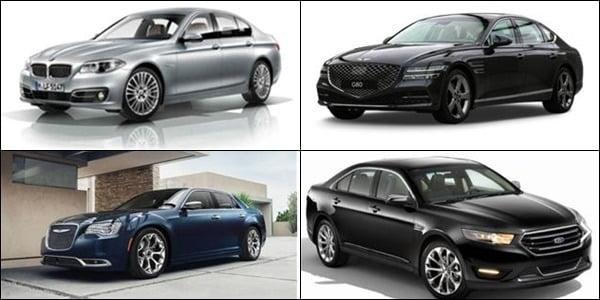 왼쪽 위부터 시계 방향으로 BMW 520d, 현대 제네시스 G80, 포드 토러스, FCA 300C./자료=국토교통부 제공