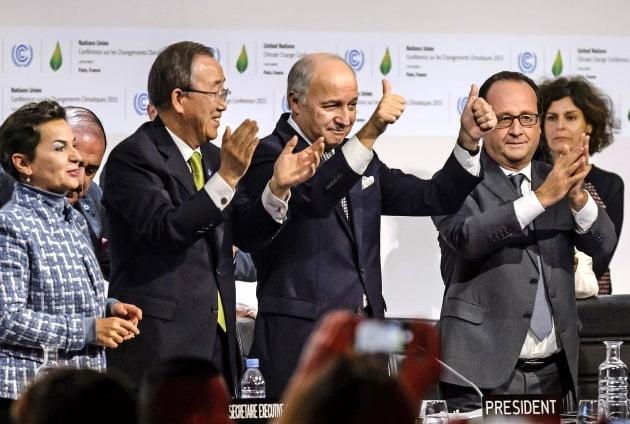 2015년 파리협정 체결 당시 장면
