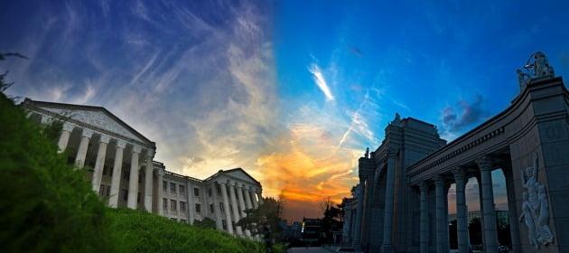 경희대학교 서울캠퍼스(좌)와 국제캠퍼스(우). 사진=경희대학교 공식 홈페이지에 있는 사진 재가공