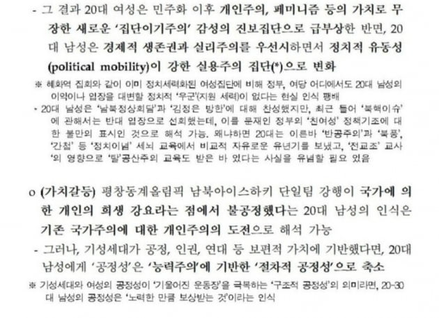 """""""20대 남성 지지율 하락 대응""""…與 참패에 2년 전 보고서 화제"""