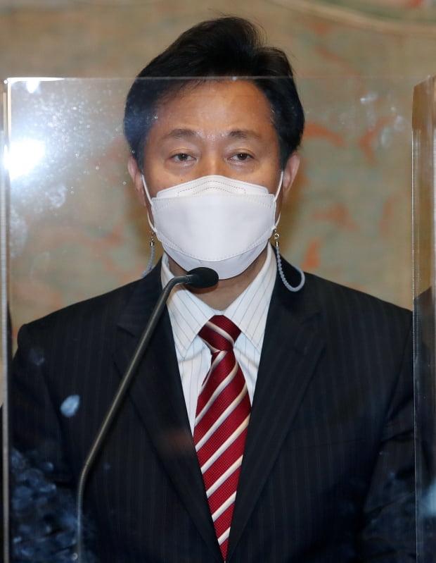 오세훈 서울시장이 12일 오후 서울 중구 서소문성지 역사박물관에서 열린 '현대불교미술전 空' 개막식에 참석해 축사를 하고 있다. 사진=뉴스1
