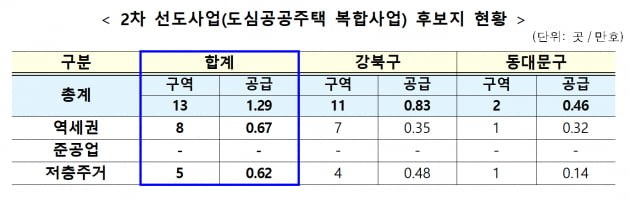 '2차 선도사업' 강북 미아·동대문 용두동 등 서울 13곳 선정