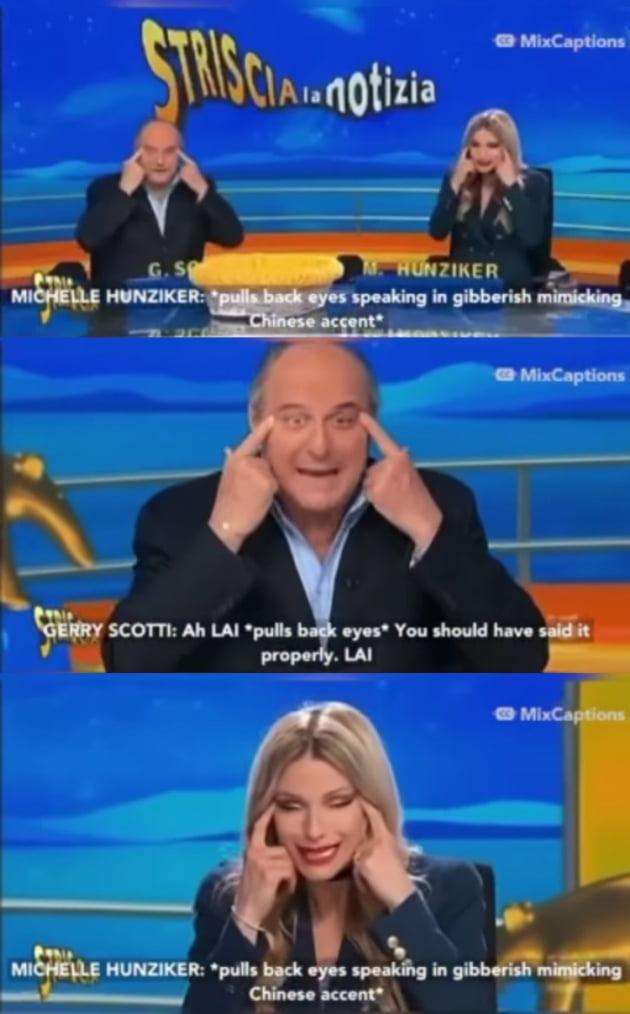 이탈리아 MC들 아시안 눈찢기, 인종차별 논란 /사진=다이어트프라다 인스타그램