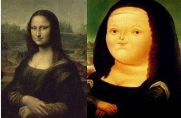 레오나르도 다 빈치의 '모나리자'(1503~1506)와 페르난도 보테로의 '12살의 모나리자'(1959).