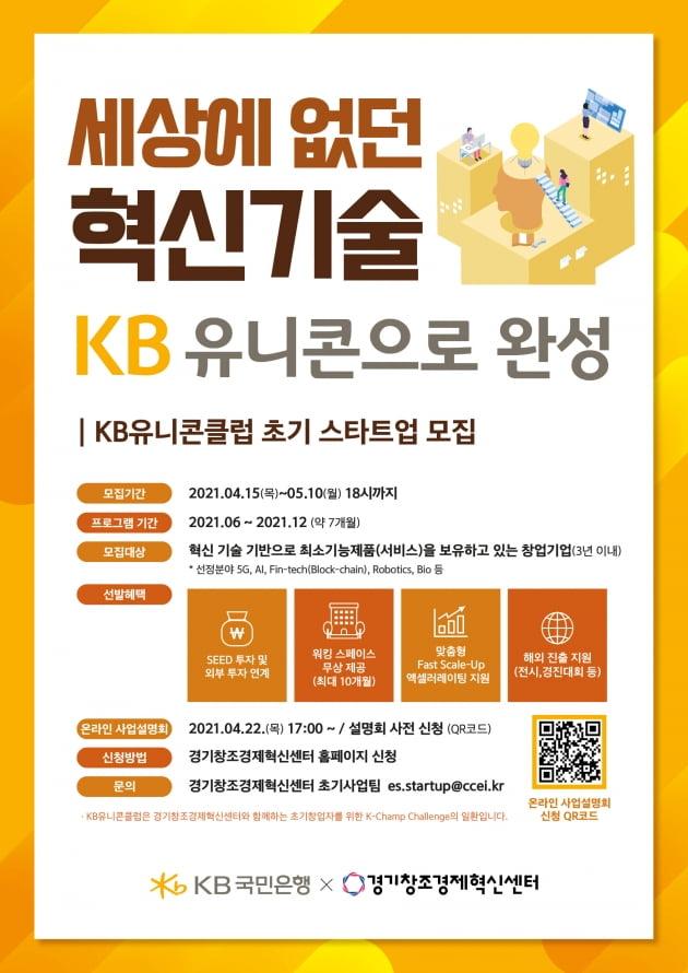 경기창조경제혁신센터, 내달 10일까지 'KB유니콘클럽' 참가기업 모집