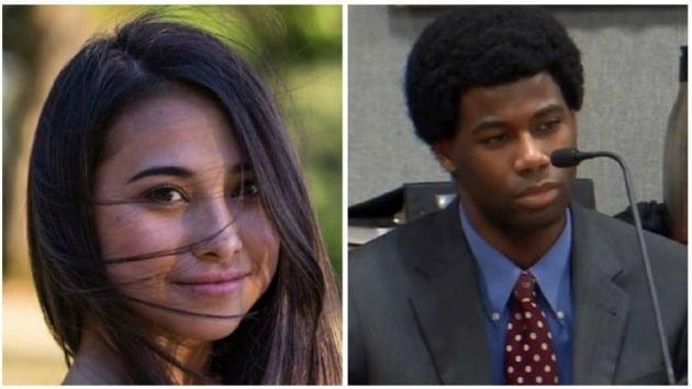2016년 텍사스주립대 오스틴 캠퍼스 내에서 사망한 하루카 와이저(왼쪽)와 당시 17세였던 가해자 미카엘 크라이너. 크라이너 재판은 방송으로 중계됐다. 미 지역방송 kxan 제공