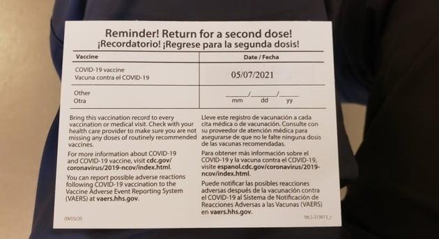 백신 접종 카드 뒷면. 2차 접종 예정 날짜가 찍혀 있다. 워싱턴=주용석 특파원