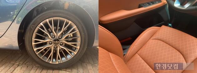더 뉴 K3 휠(왼쪽), 오렌지 브라운 색상이 적용된 실내(오른쪽)./ 사진=신현아 기자