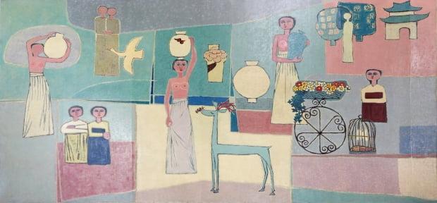 김환기가 1950년대 그린 '여인들과 항아리'. 색면으로 분할된 배경과 단순화된 형태로 그려진 사슴, 여인, 도자기를 통해 한국적 정서와 전통미를 표현했다.