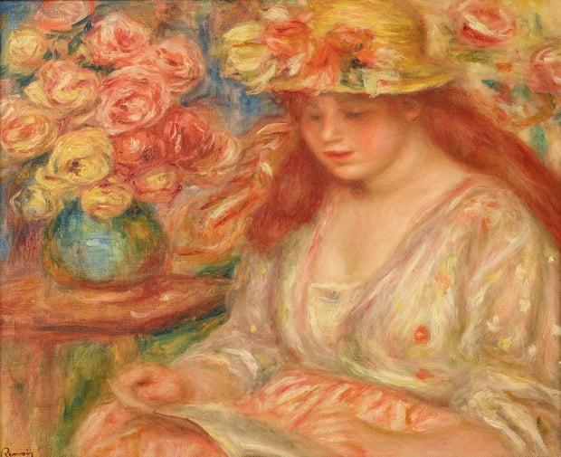 르누아르가 1890년대 그린 '책 읽는 여인'. 작가 특유의 부드러운 붓 자국과 화사한 색채감을 통해 밝고 편안한 느낌을 준다.