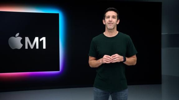 2020년 11월 10일 미국 캘리포니아 쿠퍼티노의 본사에서 열린 애플파크 신제품 발표 행사. 이날 애플은 자체 개발한 M1이 탑재된 맥북 에어와 맥북 프로를 공개했다.