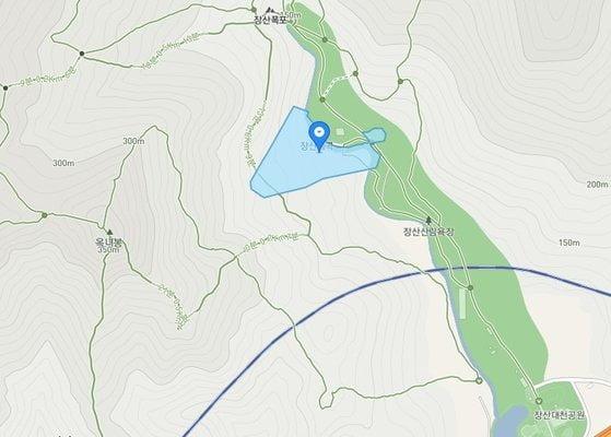 고 이건희 삼성전자 회장의 유족이 해운대구 우동 산2번지 토지를 해운대구에 기부했다. 하늘색으로 표시된 부분이 해당 토지. 사진제공=해운대구