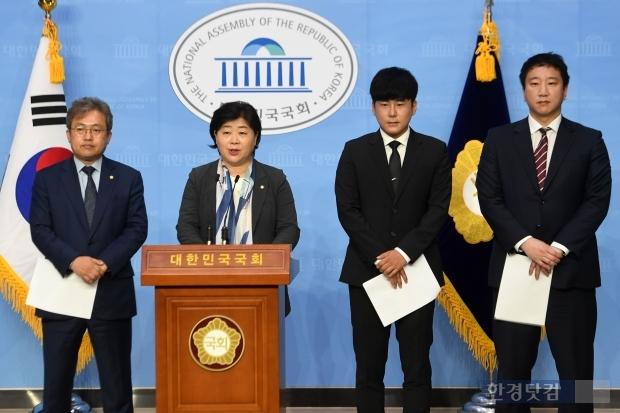 서울 국회의사당 국회 정론관에서 '구하라법'의 계속적인 추진을 촉구하는 기자회견이 열렸다/사진=최혁 기자