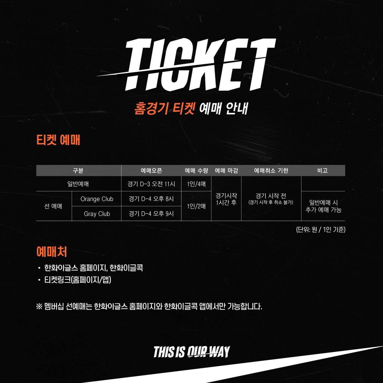 '요금 동결' 한화, 6일 홈경기 티켓 예매 오픈