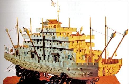 수나라 시대 전선 '오아(五牙)'의 복원 모형