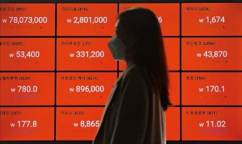 지난 12일 암호화폐거래소 빗썸의 시세판에 암호화폐 가격들이 표시돼 있다.   연합뉴스