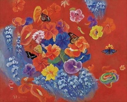 천경자 '꽃과 나비'