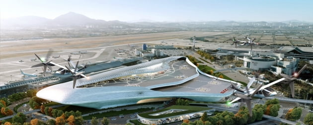 (사진) 한국공항공사가 김포공항에 구축을 검토 중인 '버티허브'. 버티허브는 개인용 비행체(PAV)용 터미널인 '버티포트(Vertiport)'의 상위 개념으로 PAV와 다른 교통수단을 연결하는 역할을 한다. /한국공항공사 제공