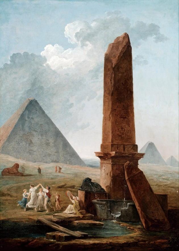 위베르 로베르, '이집트 기념비들 사이의 파랑돌', 1798년, 무쟁 고전미술관