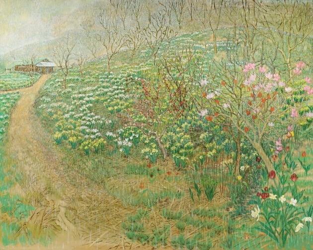 '원골에 심은 꽃을 그리다-3', 2019~2020년, 캔버스에 유채, 182×227cm, 서울시립미술관 제작 지원