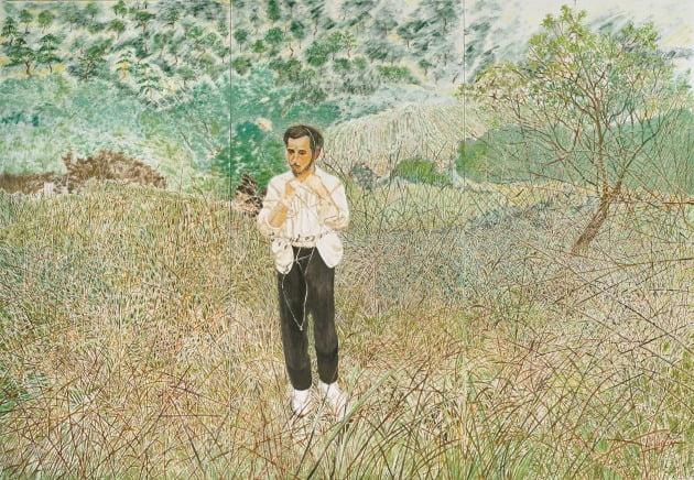 '몸에 풀 넝쿨 이어보기', 2019~2020년, 캔버스에 유채, 232×111cm×3ea, 서울시립미술관 제작 지원