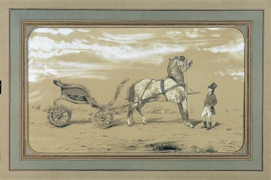 에르메스 로고의 원형인 알프레드 드 드뤼의 석판그림