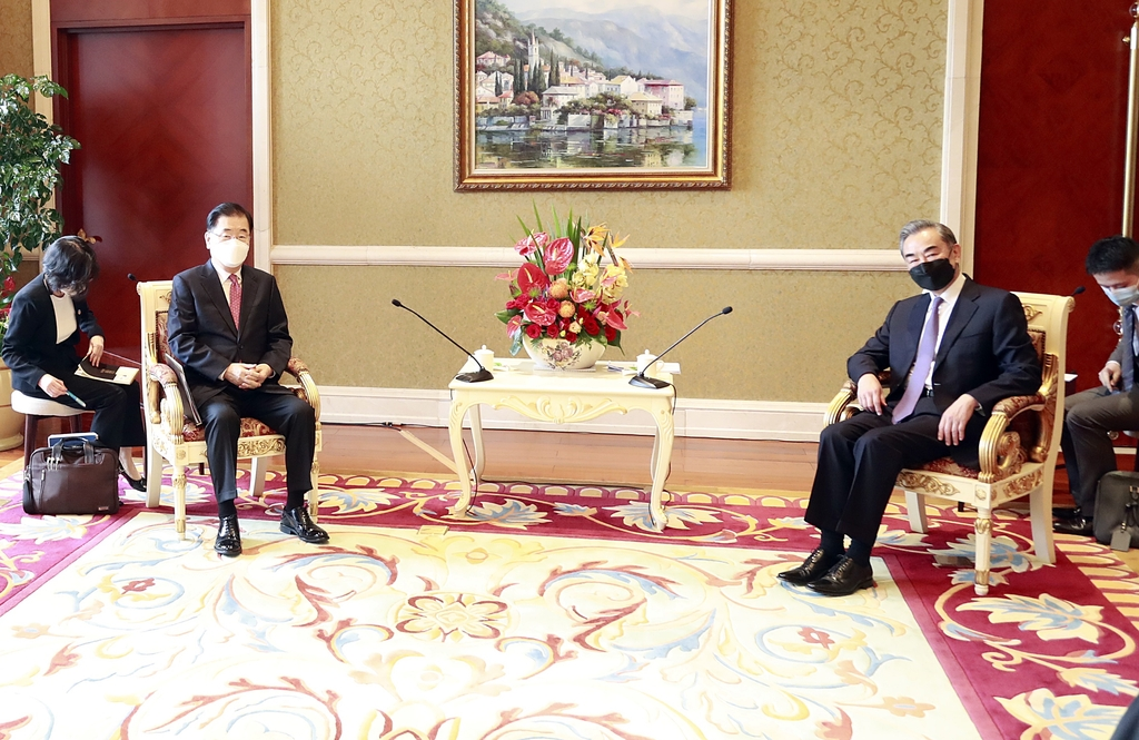 """[속보] 왕이 中외교부장 """"한중은 중요한 전략적 동반자"""""""