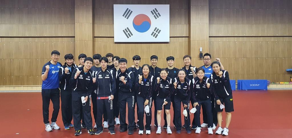 탁구 대표팀, 진천선수촌 입촌…올림픽 메달 향해 담금질