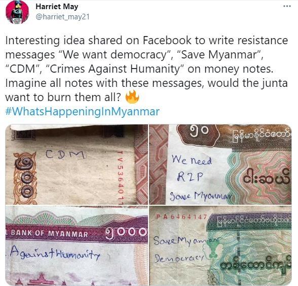 빨간 페인트·부활절 달걀·지폐…미얀마서 모든 수단으로 저항