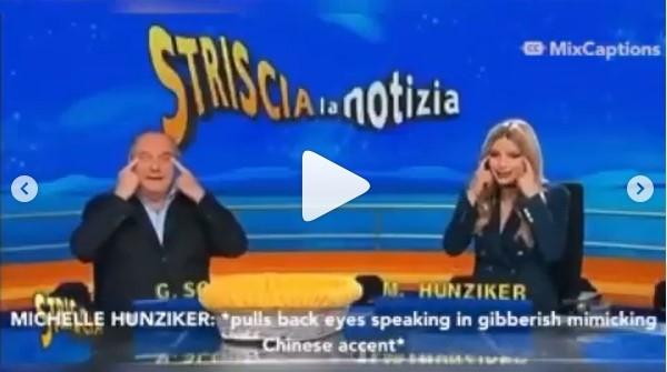 이탈리아 유명 남녀 TV진행자, 방송중 인종차별적 '눈찢기'