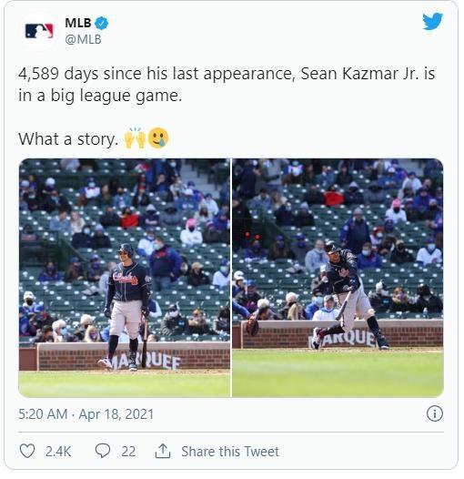 13시즌 만에 MLB에 복귀한 '의지의 사나이' 아쉬운 병살타