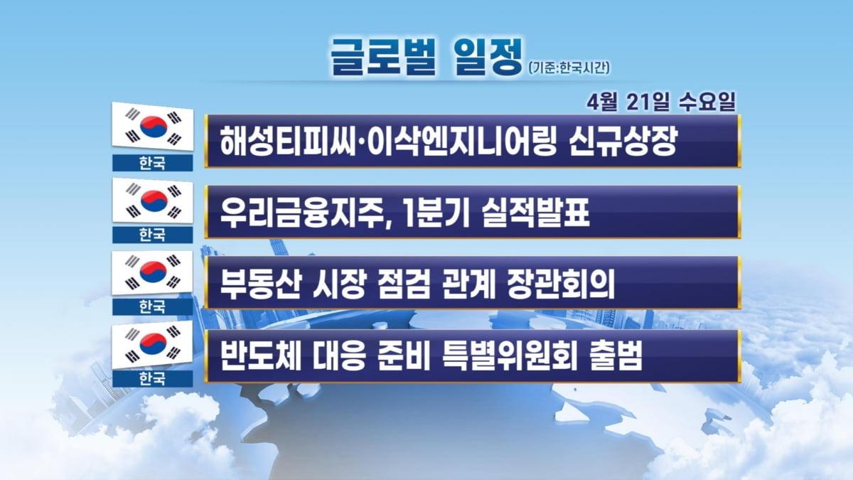 4월 21일 출근 전 체크할 주요 일정 / 해성티피씨·이삭엔지니어링 신규상장