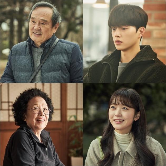 tvN 월화드라마 '나빌레라'의 주역 박인환(왼쪽 위부터 시계방향), 송강, 홍승희, 나문희. /사진제공=tvN