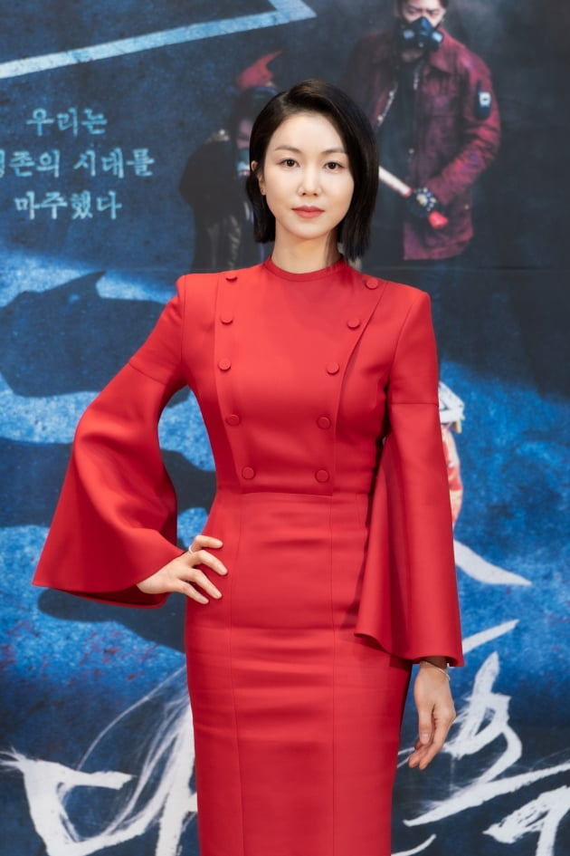 배우 김옥빈이 26일 오후 온라인 생중계된 OCN 새 금토드라마 '다크홀' 제작발표회에 참석했다. /사진제공=OCN