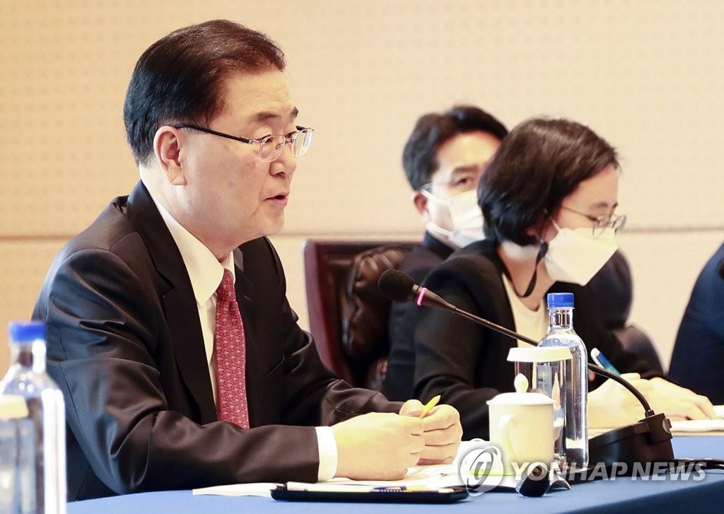 """[속보] 정의용 """"중국은 한국의 한반도 비핵화 정책 지지"""""""