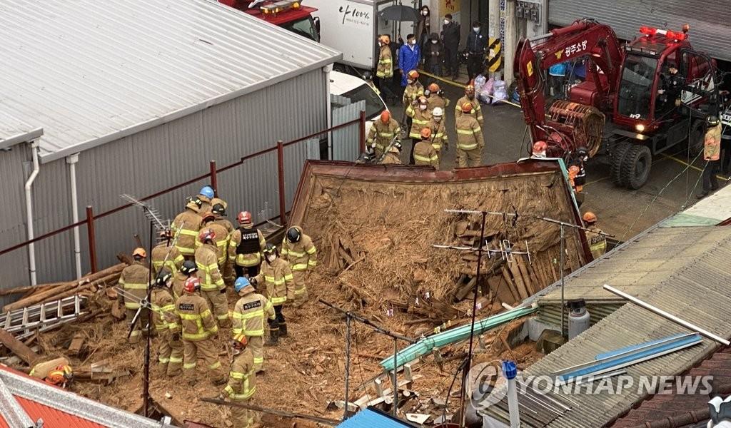 4명 사상 광주 주택붕괴 '무허가 공사?'…지자체 조사 착수