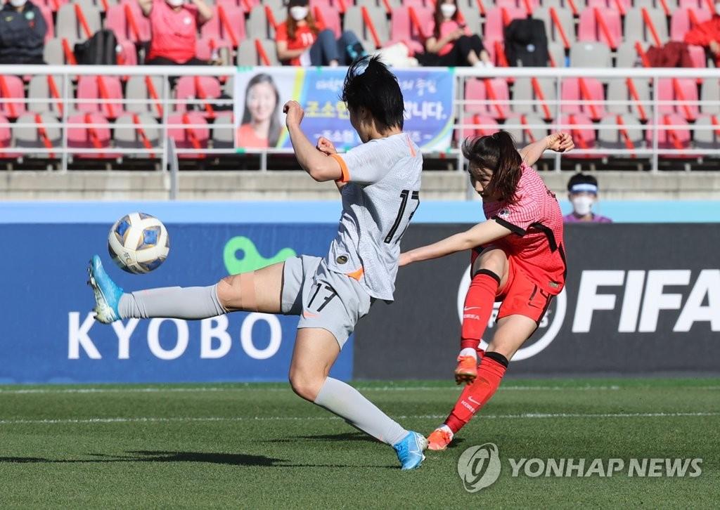 한국 여자축구, 중국에 1-2 패배…멀어진 '도쿄행 티켓'