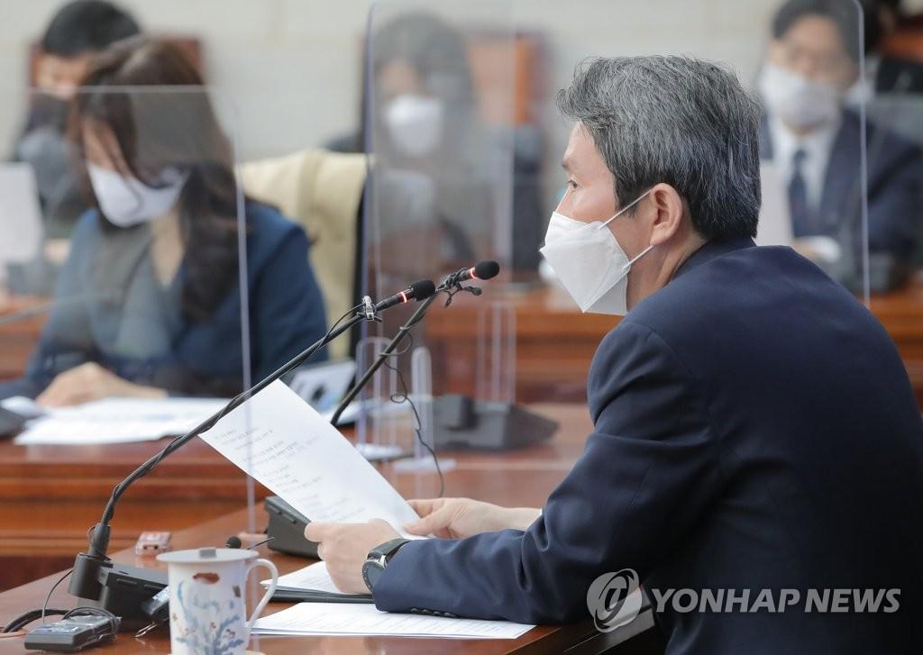 """이인영 """"북, 한미정상회담 주시…미, 제재완화 유연성 가능성도""""(종합)"""