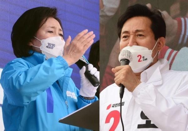 지난 1일 박영선 더불어민주당 후보와 오세훈 국민의힘 후보가 각각 서울 양천구와 성북구에서 각각 집중유세를 하고 있다. /사진=뉴스1