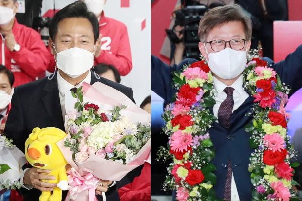오세훈(왼쪽)·박형준 국민의힘 후보가 당선이 확실시되자 기뻐하고 있다. / 사진=뉴스1