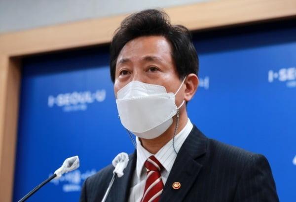 오세훈 서울시장이 지난 13일 서울시청에서 국무회의 관련 브리핑을 하고 있다. /사진=뉴스1
